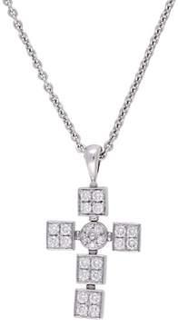 Bulgari 18K White Gold Lvcea Cross Pendant Necklace