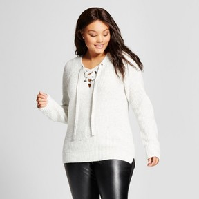 Ava & Viv Women's Plus Size Lace-Up Sweater Gray