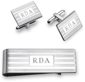 Zales Men's Engravable Money Clip and Cuff Links Set in Sterling Silver (3 Initials)