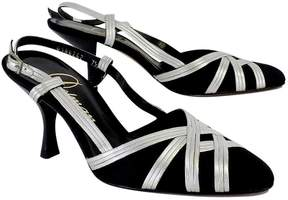 Delman Black & Silver Leather CrissCross Heels