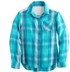 Mudd Girls 7-16 Lace Back Yoke Plaid Button-Down Shirt