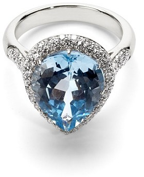 Aspinal of London Hollywood Teardrop Blue Topaz Diamond Ring