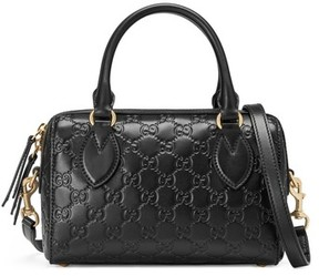 Gucci Small Top Handle Signature Leather Satchel - Black - BLACK - STYLE