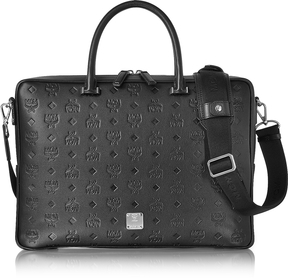MCM Ottomar Black Monogram Leather Medium Briefcase