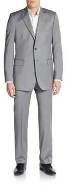 Saks Fifth Avenue BLACK Regular-Fit Herringbone Wool/Silk Suit
