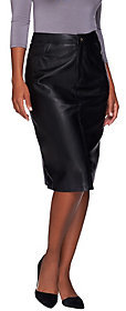 Denim & Co. As Is Mid Length Faux Leather Boot Skirt