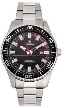 Croton Men's Aquamatic Silvertone Stainless Black Dial Quartz Watch