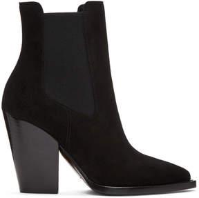 Saint Laurent Black Suede Theo Boots
