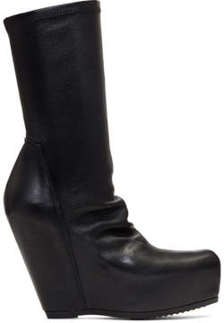 Rick Owens Black Sock Wedge Boots