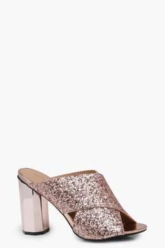 boohoo Amelie Glitter Cross Strap Cylinder Mule Heels