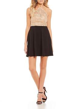 B. Darlin Chain Lace Fit-And-Flare Dress