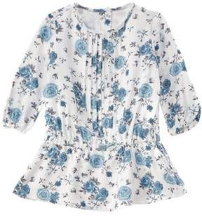 Chicco Girls' White & Blue Floral Dress.
