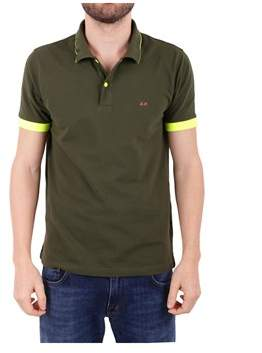 Sun 68 Men's Green Cotton Polo Shirt.