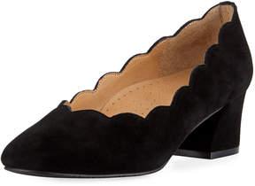 Neiman Marcus Pammie Scallop Slip-On Pump, Black