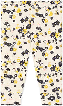 Petit Bateau Baby girl's floral and sequin double-knit cotton leggings
