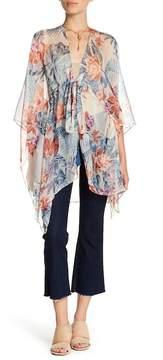 BCBGeneration Tropical Floral Tie Waist Kimono