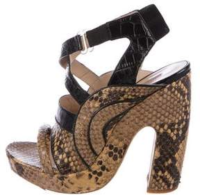 Dries Van Noten Snakeskin Cage Sandals