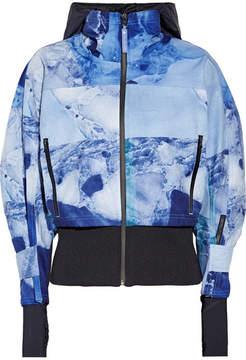 adidas by Stella McCartney Climastorm Running Trail Stretch-knit Paneled Printed Shell Jacket - Blue