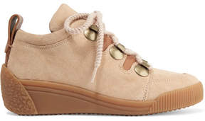 See by Chloe Leather-trimmed Nubuck Wedge Sneakers - Beige
