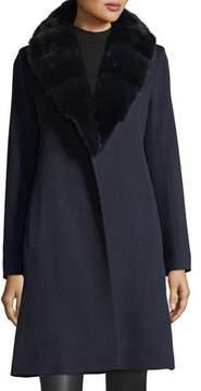 Fleurette Wrap Coat with Mink Fur Collar