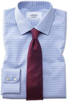 Charles Tyrwhitt Extra Slim Fit Non-Iron Multi Check Blue Cotton Dress Shirt Single Cuff Size 15.5/35