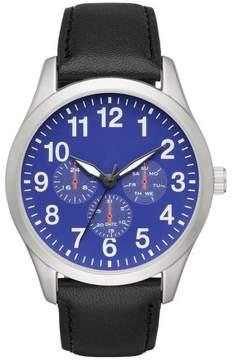 Merona Men's Full Arabic Strap Watch with Blue Dial Silver/Black