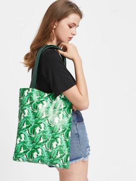 Shein Green Leaf Print Tote Bag