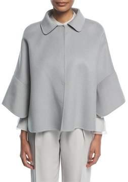 Emporio Armani Cristallo Button-Front Wool-Cashmere Swing Caban Coat