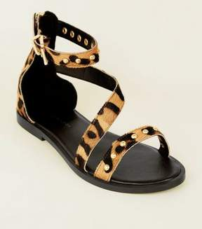 Wide Fit Tan Leather Leopard Print Strappy Sandals