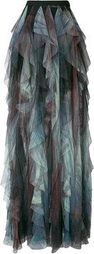 Elie Saab sheer tiered printed maxi skirt