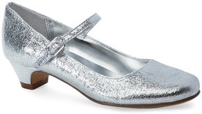 Nina Kids Girls) Silver Crackled Low-Heel Mary Jane Shoes