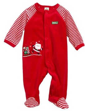 Little Me Infant Boy's Santa Velour Footie