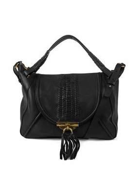 Kooba Sedona Pebbled Braided Satchel Bag, Black