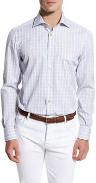 Kiton Plaid Sport Shirt, Blue/Brown/White