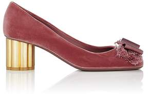 Salvatore Ferragamo Women's Flower-Heel Velvet Pumps