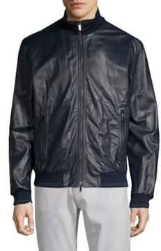 Paul & Shark Stand Collar Leather Jacket