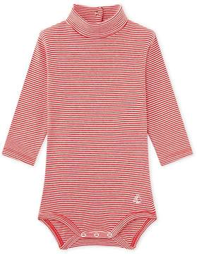 Petit Bateau BABY UNISEX BODYSUIT WITH STRIPED ROLL NECK