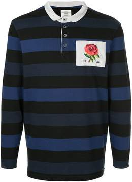 Kent & Curwen striped rose patch polo top