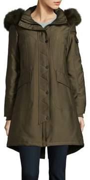 1 Madison Fur-Trimmed Snap Front Coat