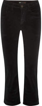 3x1 W3 Crop Baby Boot Cotton-blend Velvet Flared Pants - Black