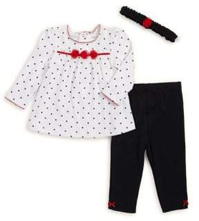 Little Me Baby Boy's Three-Piece Dotted Cotton Tunic, Leggings & Headband Set