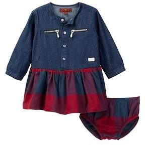 7 For All Mankind Plaid Dress & Bloomer Set (Baby Girls 0-9M)