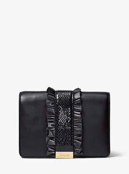 Michael Kors Jade Ruffled Leather Clutch - BLACK - STYLE