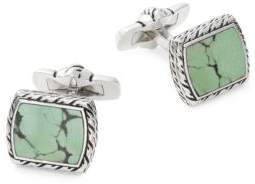 Effy Men's Square Sterling Silver & Turquoise Cuff Links