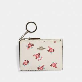 COACH Coach Mini Skinny Id Case With Floral Bloom Print - CHALK FLORAL BLOOM/SILVER - STYLE