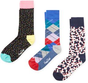 Happy Socks Men's Spiral, Argyle and Abstract Socks (3 PK)