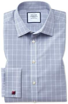 Charles Tyrwhitt Classic Fit Non-Iron Prince Of Wales Grey Cotton Dress Shirt Single Cuff Size 15.5/33