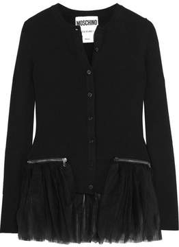 Moschino Tulle-trimmed Ribbed Wool Cardigan - Black