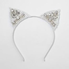 River Island Womens White lace embellished cat ears hair band