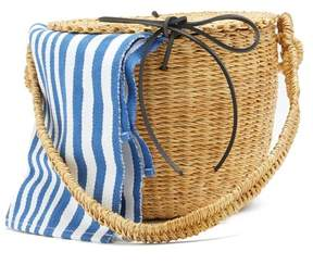Muun Lou Striped Canvas And Woven Straw Bucket Bag - Womens - Blue Stripe